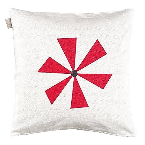 Linum Kissenhülle SPINN I0D rot Windrad 40cm x 40cm aus Baumwolle mit Reißverschluss