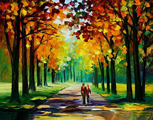 YXQSED [Holzrahmen ] Malen nach Zahlen Neuerscheinungen Neuheiten - DIY Gemälde durch Zahlen, Malen nach Zahlen Kits-Romantische Liebe Herbst (10) 16X20 inch
