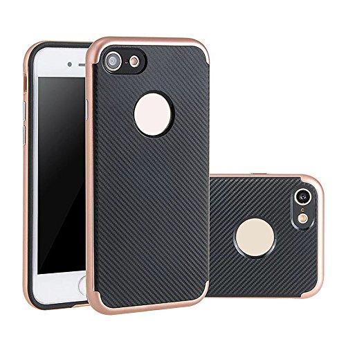 "iPhone 6 Plus / 6s Plus 5.5 Zoll Hülle, Aohro Dünne Schutzhülle [Black TPU Silicone Carbon Design + PC Bumper] Back Cover Case Bumper für Apple iPhone 6 Plus / 6s Plus 5.5"", Grau (Grey) Rose gold"