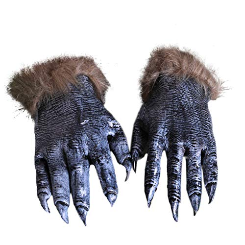 Mescara Werwolf Handschuhe - Kostüm für Halloween Deko Werwolf-Klauen mit Plüschhaar Kostümzubehör Cosplay Partyzubehör für Karneval Ostern (Schwarz)