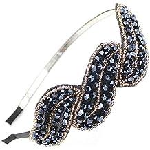 Cdet Cintas para el pelo accesorios de moda del pelo headwear de la hoja de color azul con el simulado de cristal para las mujeres Negro