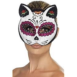 Smiffy 's–45219azúcar calavera máscara de ojo de gato con purpurina (talla única)