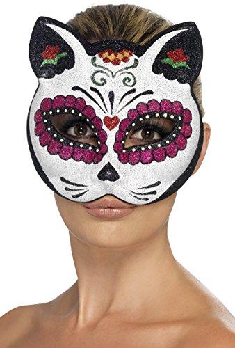 schädel Katzen Augenmaske, One Size, Mehrfarbig, 45219 (Tote Katze Halloween Kostüm)
