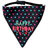 Lana Paws Happy Birthday! Adjustable Dog Bandana/Dog Scarf,a Quirky Fashion Accessory/Dog Gift