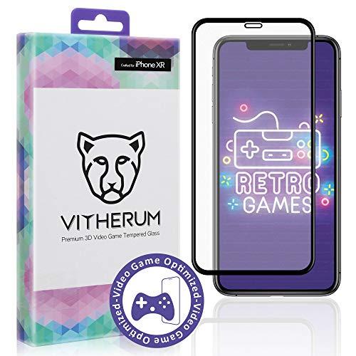 Vitherum Opal - Premium 3D gebogen, gehärtetes Glas, kompatibel mit iPhone XR (schwarzer Rahmen) -