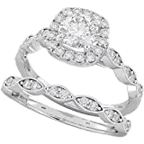 BestToHave Ladies Ring - Halo Design 2 Piece Round Cut Genuine 925 Sterling Silver Luxury Unique Wedding Engagement Bridal Ring Set J