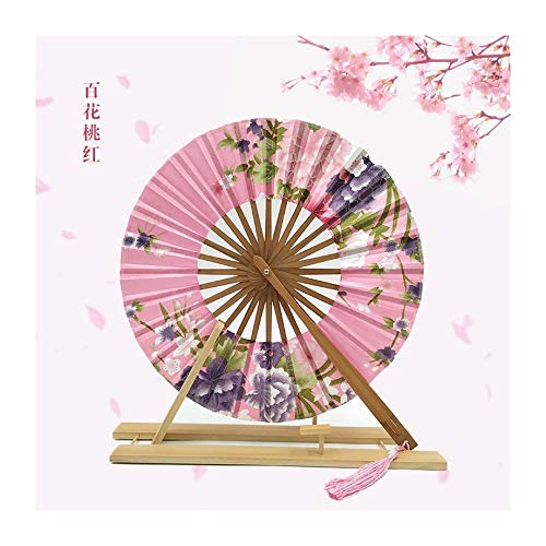 JUNHONGZHANG 2PCS Kreativer Faltender Ventilator Kreisförmiger Windmühlenventilator Cherry Blossom Japanischer Geschenkventilator (21Cm), E
