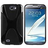 Bestwe® X-TPU Skin Case Samsung Galaxy Note 2 N7100 Silikon Tasche Hülle - Silicon Protector Schutzhülle schwarz + Displayschutzfolie Samsung Galaxy Note 2 N7100 Schutzfolie Folie