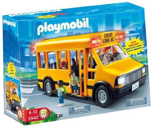 Playmobil 5940 - Scuolabus con luci lampeggianti, con autista e 3 bambini inclusi