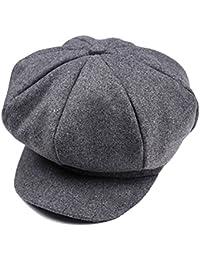 Gorra retro de estilo panadero con soporte de visera, boina de inviernos para niños gris