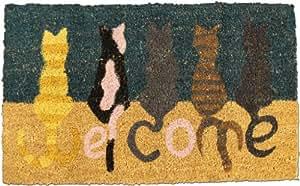 "Homescapes Paillasson (45 x 75cm) ""WELCOME CATS"". 100 % fibres de coco naturel."
