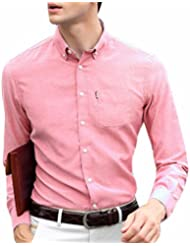 QIYUN.Z Botón De Los Hombres De Color Sólido De Manga Larga Solapa Hacia Abajo Camisas De Vestir Casuales