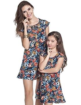 YOUJIA Vestidos Manga corta Floral Mini A-Line Vestido de Fiesta Playa para Madre e Hija