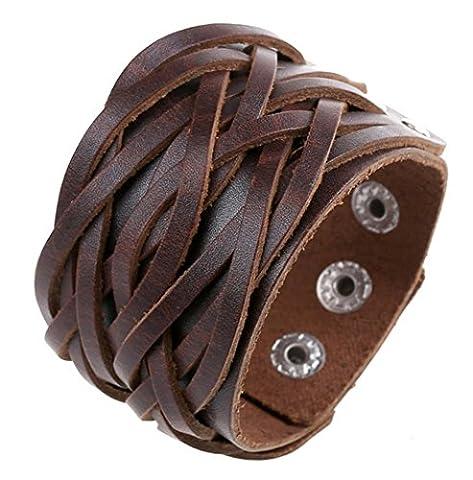 Caiyan Bracelet en cuir punk vintage , brown