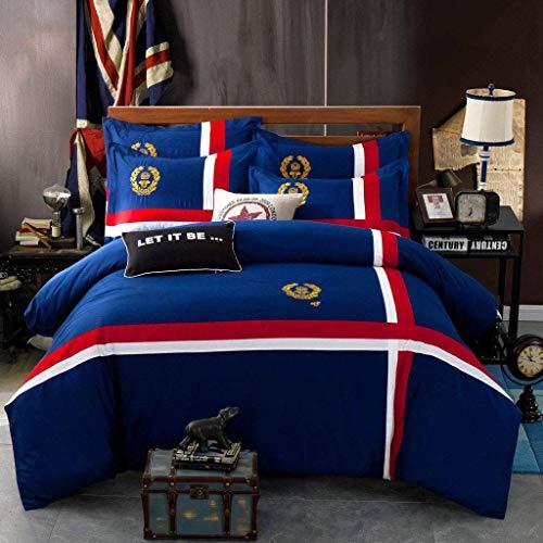 Jet bestickte vierteilige Bettwäsche aus Baumwolle der British Badge Series (Farbe: B, Größe: 200 cm Bett) (British-bettwäsche-set)