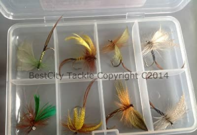Fly Fishing MAYFLY + FREE FLY BOX Size 8/10 Trout Flies UK May flyPack #316 from BestCity Tackle