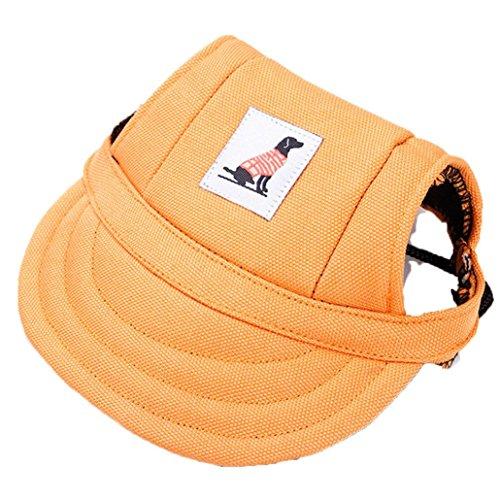 Sannysis accesorios para perros, sombrero de visera de béisbol para mascotas pequeñas (naranja, S)