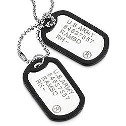 COOLSTEELANDBEYOND Clásico Dos Piezas Militar Ejército Dog Tag con Silicona Negro, Collar con Colgante de Hombre, Bola Cadena 70CM