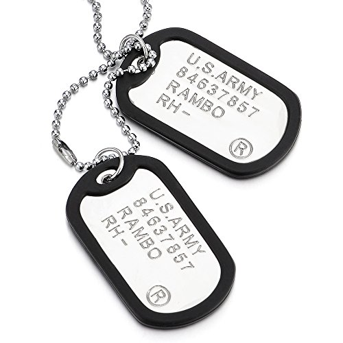 COOLSTEELANDBEYOND Clásico Dos Piezas Militar Ejército Dog Tag con S