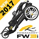 'NEW 2017' POWAKADDY FW3i BLACK ELECTRIC GOLF TROLLEY 18 HOLE LEAD ACID BATTERY & CHARGER + FREE TRAVEL COVER WORTH £34.99