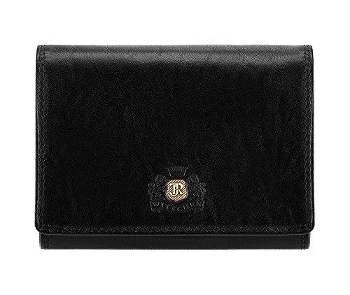 Wittchen Geldbörse | 9.5x12 cm | Narbenleder, Schwarz | Handmade, Kollektion: Da Vinci - 39-1-070-1 (Fossil Geprägte Brieftasche)