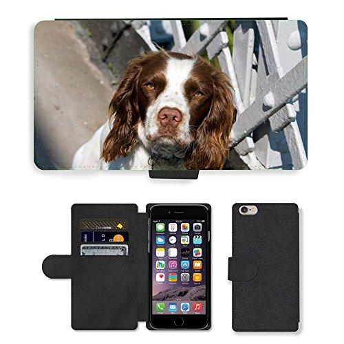 Just Mobile pour Hot Style Téléphone portable étui portefeuille en cuir PU avec fente pour carte//m00138226chien épagneul springer épagneul springer//Apple iPhone 6Plus 14cm