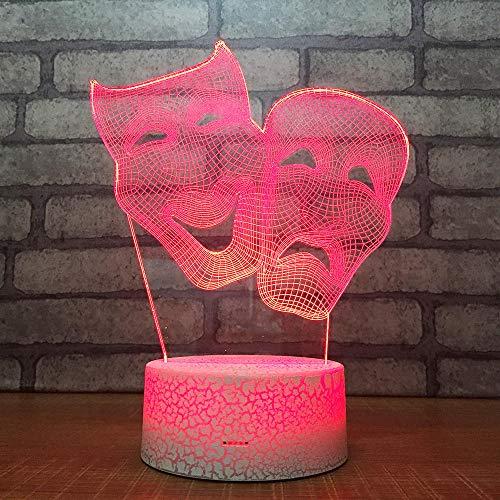 3D Optische Illusions-Lampen Maske 7 Farben Erstaunliche Optische Täuschung Die Schlafzimmer-Dekoration Für Kinder Weihnachten Halloween-Geburtstagsgeschenk Beleuchten