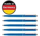 50 Stück Kugelschreiber blau allpremio® Qualität – Mine BLAU Strickstärke M – dokumentenecht nach ISO 12757-2 – Sparpack Druckkugelschreiber mit Metall Clip nachfüllbar