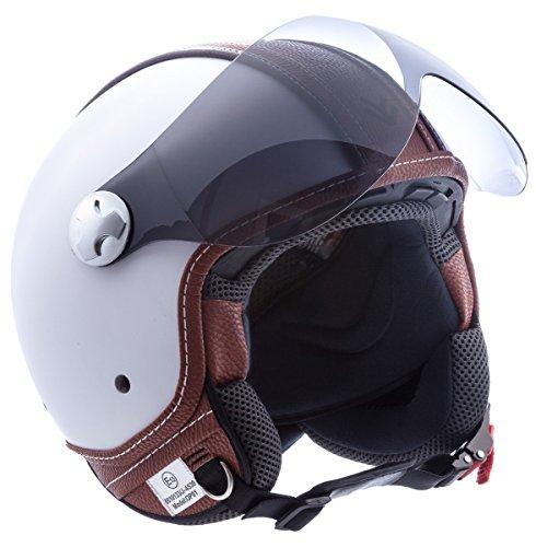 """Armor · AV-84 """"Vintage Deluxe White"""" (white) · Casco Demi Jet · Scooter Helmet Moto Piloto Motocicletta Urbano · ECE certificato · Visor · Click-n-Secure™ Clip · Borsa per il trasporto · L (59-60cm)"""
