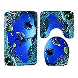 Badematten Set 3tlg, Asnlove 3er Badgarnitur Badezimmer Matte Set Dusch Bade Matte Vorleger Teppich 3d Muster für Wohnzimmer, Schlafzimmer, Schwimmbad Toilet - Unterwasserwelt