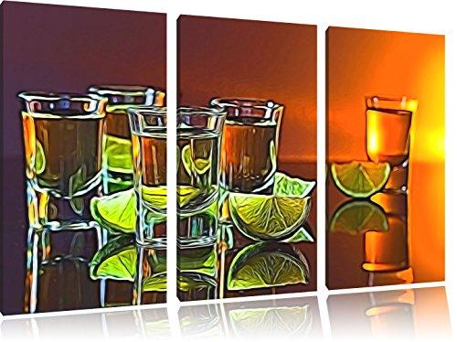 viele Tequila Shots3-Teiler Leinwandbild 120x80 Bild auf Leinwand, XXL riesige Bilder fertig gerahmt mit Keilrahmen, Kunstdruck auf Wandbild mit Rahmen, gänstiger als Gemälde oder Ölbild, kein Poster oder Plakat