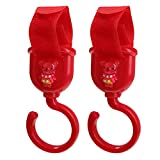 Homyl 2er Pack Lässig Casual Stroller Hooks Kinderwagenhaken Hängehaken Kinderwagenbefestigung mit Klettverschluss - rot
