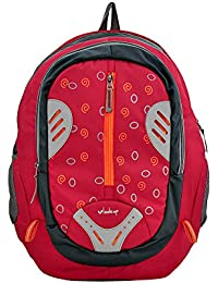 YelloeVlook Up Series Red Color Laptop Backpack With Compact Design And Clean Styling& Straps And A Haul Loop...