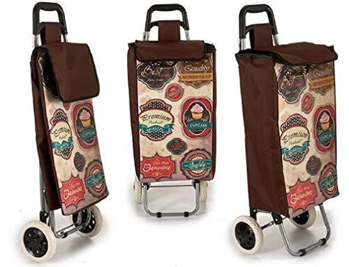 Arte Regal Einkaufstrolley Vintage mit Zwei Rädern, Maße: 35 x 30 x 95 cm