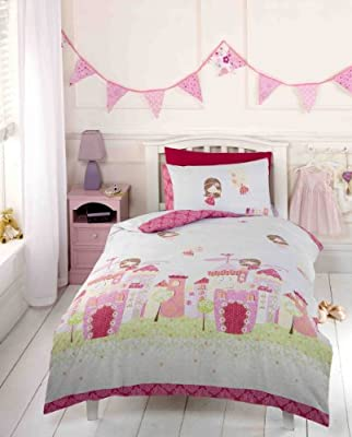 Girls Pink Fairy Castle Fairy Tale Princess Toddler Duvet Cover Bedding Bed Set by Fairy inc Disney Fairies - cheap UK light shop.