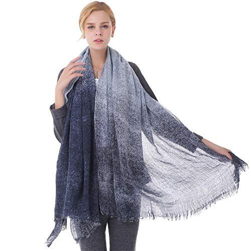 TaoRan Damen Wollschal warme Wollschal Schal Dual-Use-Farbverlauf Inkjet Druckmuster - blau -