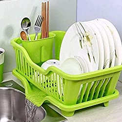 Dreamworld 3 in 1 Kitchen Sink Dish Drainer Drying Rack Multi Kitchen Sink Dish Plate Drainer Drying Rack Wash Organizer Tray Holder Basket 45 X 24 X 14 cm (Green)