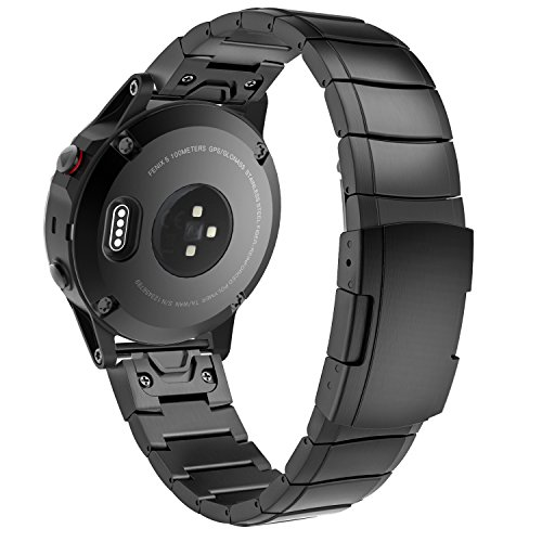 MoKo Fenix 5 Armband, Edelstahl Replacement Uhrenarmband Gliederarmband mit Mentallschließe für Garmin Fenix 5/5 Plus/Instinct/Forerunner 935/Approach S60 Smartwatch, Schwarz, Nicht für Fenix 5X/5S