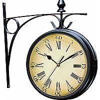 pethot Outdoor Garten Uhr wetterfest Retro-Wanduhr Paddington Station doppelseitig mit Außerhalb Halterung 20cm