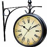 Pethot orologio da giardino, resistente alle intemperie retro Paddington station orologio da muro doppio con esterno staffa 20cm