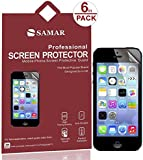 SAMAR® - Supreme Quality New iPhone SE / 5 / 5S / 5C Crystal Clear Screen Protectors (Released 2013-2016) 6 in Pack - Includes Microfiber Cleaning Cloth
