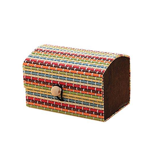 Brussels08 Bambus Holz hohe Kapazität Fall Schmuck Aufbewahrung Display Boxen Organizer Ring Halskette Ohrring Halter Container, Bambus, mehrfarbig, M - Hohe Kapazität Licht