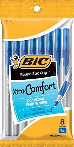 Bolígrafo BIC Stic Grip, color azul 8 Count