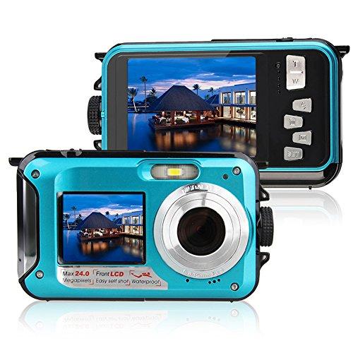 Unterwasser Stoßfest Digitale 24MP Kamera Camcorder Doppelbildschirme Doppel LCD Farbdisplays FHD 1080p Gehäusefreier Selbstauslöser Foto-Videorecorder Wiederaufladbarer Akku