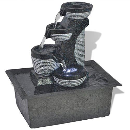 Festnight Zimmerbrunnen mit LED-Licht 2W LED-Brunnen LED-Beleuchtung Wohnzimmerbrunnen aus Polyresin Tischdekoration