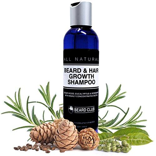 Bart und Haarwuchs Shampoo   Mit hochkonzentriertem Biotin   Mit dem Duft von Zedernholz, Eukalyptus...