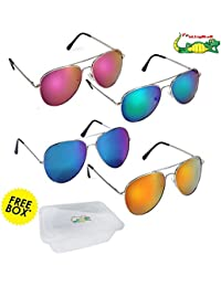 Elligator Stylish Aviator Mirrored Sunglasses Combo For Men & Women( combo of 4 )