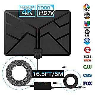 Indoor TV Aerial, GEEKERA 2019 New Digital Freeview HDTV Antenna Amplified 60+ Miles Long Range Access 4K 1080P HD HF/UHF/FM Stronger Reception Steady Transmission for Home Smart Television Channels