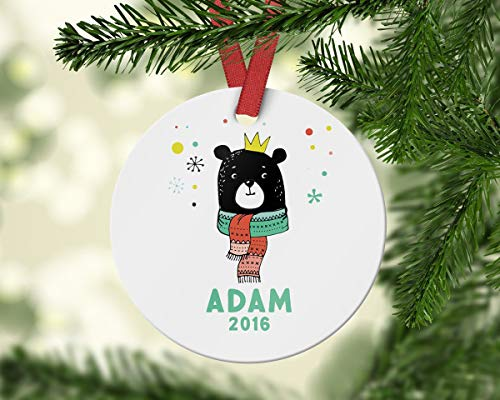 qidushop Personalized Ornament 2018 Bear Ornament Kids Christmas Scandinavian Christmas Name Ornament Gift for Kid Christmas Decoration Funny Holiday Xmas Tree Hanging Crafts