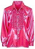 Das Kostümland Satin Rüschenhemd Johnny - Neon Pink Gr. 56